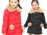 2014冬季童装新品 外贸原单中大女童装大毛领双排扣加厚棉衣热销