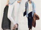 韩国代购牛仔裤2014春夏新款牛仔裤女 时尚九分铅笔牛仔裤