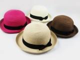夏季帽子一件代发批发 圆顶蝴蝶结遮阳帽巴拿马草帽英伦礼帽B384