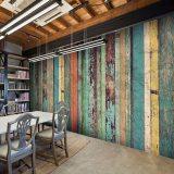 复古做旧仿木板大型壁画 餐厅饭店网吧背景