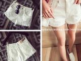 2015夏季新款 韩版时尚显瘦卷边热裤磨破撕边白色牛仔短裤
