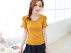 2014韩国新款夏装短袖t公主蓬袖蝴蝶結T恤衫女上衣