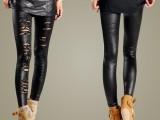 2014新款欧美风立体感亚光防皮破洞蕾丝仿皮打底裤 九分裤