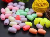 直销亚克力塑料大孔椭圆珠子 抛光糖果色珠