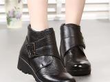 2014新款冬季女靴真皮中跟短靴女中老年棉靴保暖妈妈女鞋中年靴子