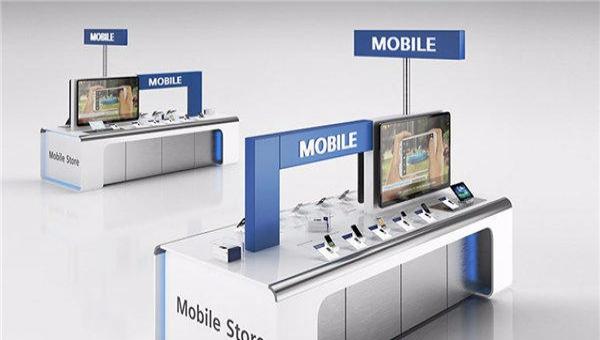 手机展柜柜台设计制作 巢湖手机专卖店铺展柜