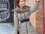 2014韩版大毛领品牌羽绒棉服中长款 外贸原单女装棉衣外套批发