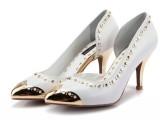 2013新款欧洲站真皮铆钉铁头金属鞋头白色高跟女鞋时尚尖头单鞋