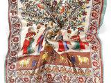 【厂家批发】华诗锦新款 100%真丝金线人物发财树画像图案丝巾
