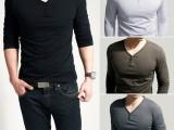 新款秋季韩版男装v领t恤潮流长袖两扣百搭T恤 修身男士T恤