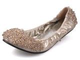 厂家直销 2014新款浅口平底女单鞋 水晶串珠婚鞋 芭蕾舞蹈瓢鞋