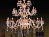 定制三层琥珀色K9欧式蜡烛水晶吊灯酒店大堂别墅会所工程灯饰灯具