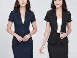 2015夏季短袖职业装 校服 表演服 工作服 深蓝色 黑色862