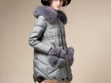 2014冬正品高端新品超大狐狸毛领口袋毛修身显瘦潮品中长羽绒服女