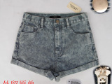 女裤欧美外贸原单女式中高腰牛仔裤条纹短裤F21舒适质量好
