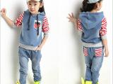 厂家直销童套装女童春秋休闲套装韩版中大童牛仔拼色运动两件套装