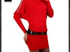 2013秋装款 韩版烫钻雅女装 通勤高端收腰长袖针织连衣裙女6018