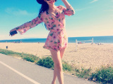 海边度假沙滩雪纺连衣碎花长袖连体裤裙短裤明星同款修身防晒衣