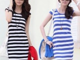 连衣裙 夏 女装夏装2013新款条纹包臀显瘦修身连衣裙夏季韩版裙
