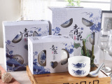 厂家批发青花陶瓷碗勺骨瓷青花瓷礼品餐具套装套碗送礼促销礼盒装
