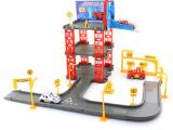 外贸卡通 3层汽车轨道停车场 立体拼装玩具 汽车大楼场景 过家家