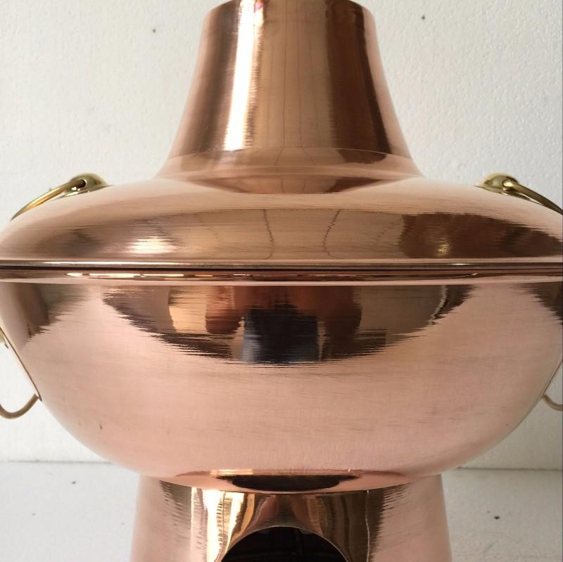 直径30cm 紫铜加厚木炭铜火锅 传统火锅