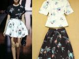 2014欧美时尚卡通印花上衣+半身裙套裙两件套批发代发 直销
