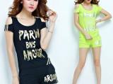 实拍2014夏季新款 韩版时尚运动休闲套装 短袖短裤休闲套装女夏