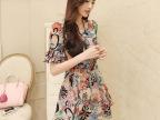 2014年夏装新款韩版气质 植绒印花雪纺 短袖连衣裙