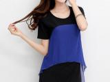 2014年夏季新款韩版时尚品牌女装雪纺拼接欧根网纱连衣裙