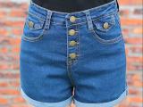 牛仔短裤女夏季2015新款显瘦卷边热裤薄大码裤子韩版潮春夏好质量