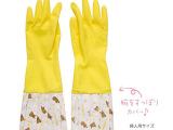 黄岩橡胶手套工厂 中长款2013新款印花拼接时尚天然乳胶手套清洁