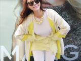 韩国东大门代购女装 2014秋冬韩版中长款针织开衫范冰冰同款外套
