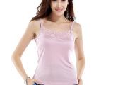 2014新 真丝针织吊带衫 前后两面可穿蕾丝花边小背心 100%