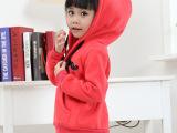 童装 2014冬装新款韩版儿童加绒卫衣纯色小胡子卫衣外套 免费代