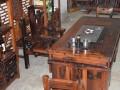135cm明清古典老船木茶桌茶台套装 仿古餐桌茶桌 桌椅组合