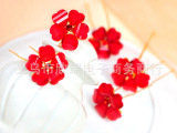 厂家批发定做韩式新娘红色花朵头饰结婚旗袍配饰U型发髻婚庆饰品