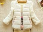 2014冬装新款韩版兔毛七分袖拼接羽绒棉衣棉服短款小棉袄女装