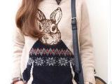 兔子先生春季新款韩版宽松学院风针织衫女装套头毛衣长袖外套