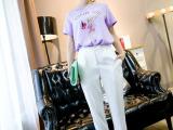 韩版2015新款女装百搭宽松显瘦卷边西装裤高腰哈伦裤女裤潮