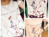 2013韩版新品美丽女孩t恤 天鹅女孩印花 雪纺上衣女装T恤女t