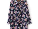2014春季新款欧美日系原单女装宽松印花长袖雪纺衬衫衬衣女B-9
