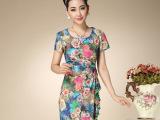 2014夏装韩版修身包臀仿桑蚕丝绸缎印花短袖气质真丝连衣裙女