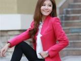 最新2013秋冬新款韩版修身中长女毛呢西