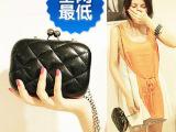 韩版2014新款糖果色菱格链条手包手拿包晚宴包单肩斜挎包迷你包