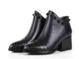 欧洲站2014秋新款真皮骑士靴低跟尖头短筒拼色时尚高档大气女靴子