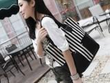 流行韩版单肩包 双兜包 条纹帆布女包 斜挎包 手提包 休闲包包邮