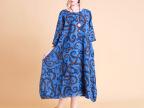 麻饰记民族风女秋装新款 超长款连衣裙棉麻宽松型文艺复古长裙子