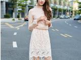 女装一件代发网店代理2015欧美秋新款流苏松紧腰假两件蕾丝连衣裙
