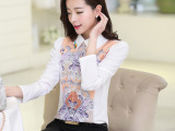 2015春装新款韩版女装雪纺衫翻领钉钻印花长袖雪纺衫女式衬衫